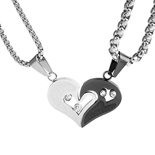 Half Round Rolo - Wolentty Stainless Steel Heart Puzzle Couples Necklace Half Heart Couple Necklace for Her Friendship (Gift Box)