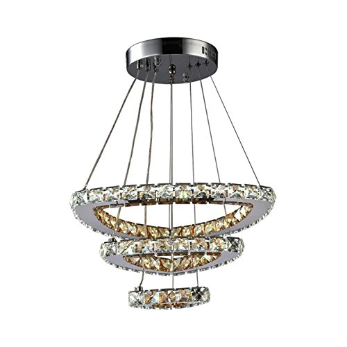 GRFH Crystal Chandelier Modern Simplicity Creative Personality Three Stainless Steel Ring Crystal Ceiling Chandelier LED Crystal Dining Room Chandelier Triple Pendant Chandelier