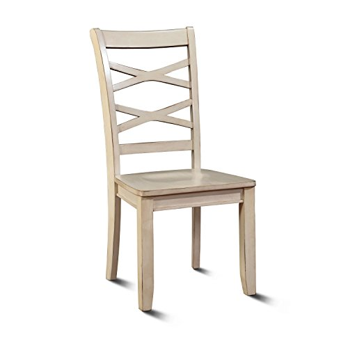 HOMES: Inside + Out IDF-3528WH-SC White Transitional Zensa Side Chair (Set of 2) For Sale