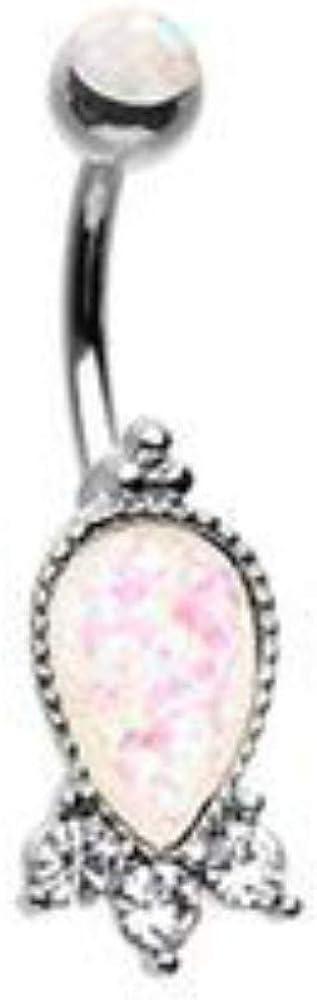 Rose Gold Plated 14 GA 316L Stainless Steel Rose Gold Shimmering Heart Gem Dangle Navel Belly Button Ring Davana Enterprises