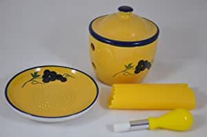 Grater Plate Set With Garlic Keeper, Peeler & Brush - Ceramic With Decorative Hand Painted Grape Design - Blue & Yellow - By Cooks Innovations