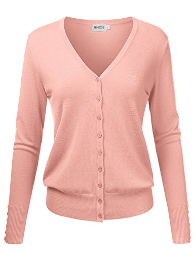NINEXIS Womens Basic Long Sleeve V-Neck Button Down Knit Cardigan Sweater Dustypink XL