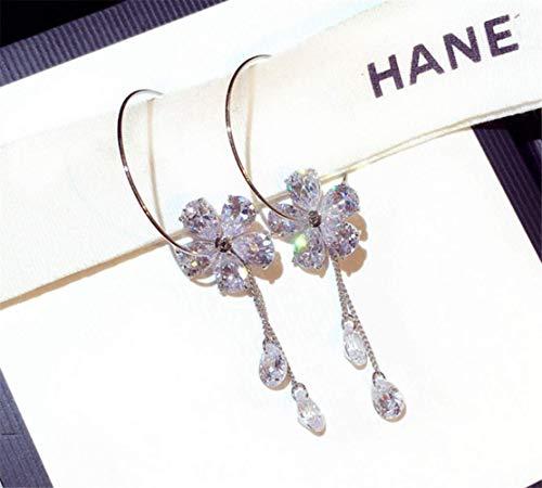 P.phoebus 18K White Gold Plated Vintage Swarovski Crystal Studs Earrings Rhinestones Dangle Charms Hoops for Women Girls (2)