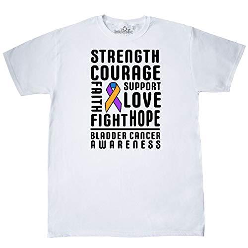 inktastic - Strength Courage Support Bladder Cancer T-Shirt Medium White 32f5b