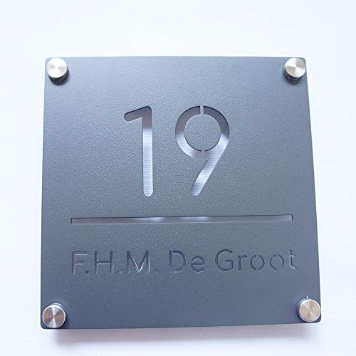 (Showlit Outside House Number Plate with Family Name Powder Coated Grey Color Name Door Plaques Custom Made)