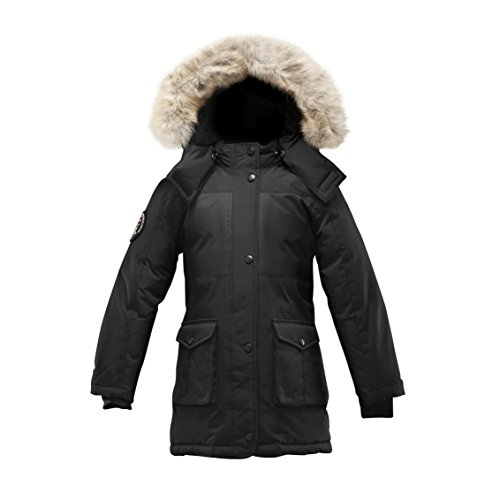 Triple F.A.T. Goose Madigan Girls Hooded Down Jacket Parka With Real Coyote Fur (10, Black) by Triple F.A.T. Goose