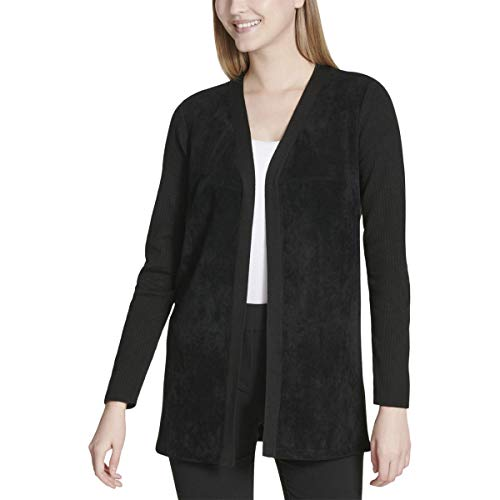 Calvin Klein Women's Long Sleeve Cardigan with Suede, Black, S