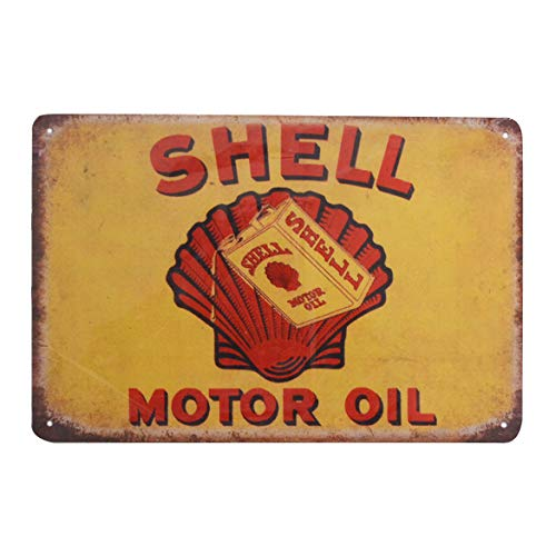 Shell Gas Oil - PEI's Retro Vintage Tin Metal Sign, Shell Motor Oil Gasoline, Wall Decor for Home Garage Bar Man Cave, 8x12/20x30cm