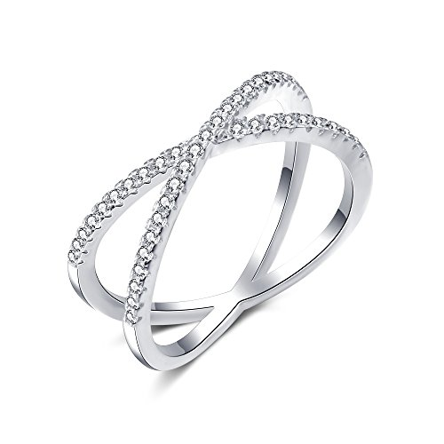 X Ring Sterling Silver, Cubic Zirconia X Criss Cross Ring for Women, Size 6-8 (White-Gold-Plated-Silver, 9) ()