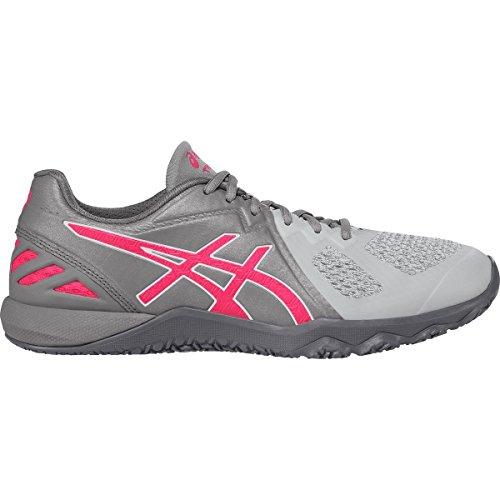 ASICS Women's Conviction X Cross-Trainer Shoe, Aluminum/Diva Pink/Glacier Grey, 7 M US