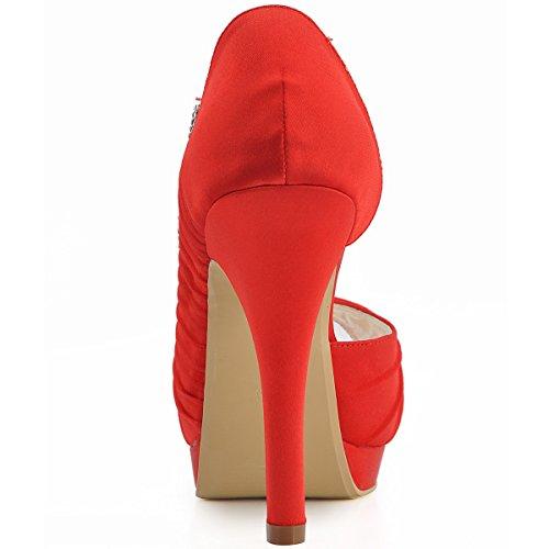 Satén Zapatos Rojo Elegantpark De Mujer Vestir w8dt74qx