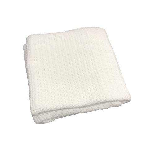 battilo 100% Soft Premium Cotton Thermal Waffle Blanket Couch Quilt, Perfect for Layering Any Bed, White (Waffle Blankets)