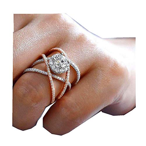 Silver Elegant Flower Engagement Ring with Clear Fine Jewelry Gift for Women Size 6-10 (Gold, ()