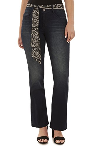 Angels Women's Belted Curvy Bootcut Jeans in Aire Size:10