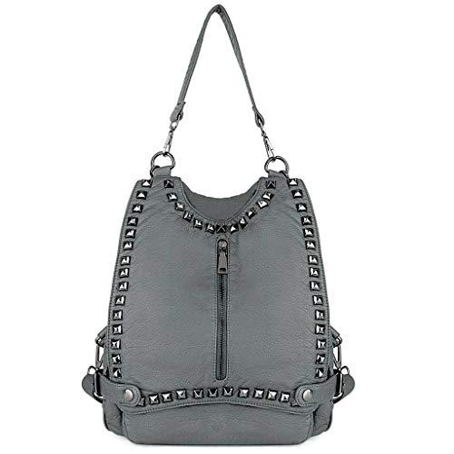 Studded Leather Rucksack Shoulder Backpack Women Uto Grey Purse Washed Pu Convertible Bag Rivet Ladies AC0wXq