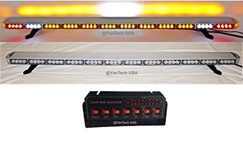 "YanTech USA 60"" Amber Clear Super Bright LED Light Bar 102 LEDs Flashing Warning Tow Truck Wrecker Police Snow Plow with CARGO LIGHTS and BRAKE or TURN SIGNAL LIGHTS"