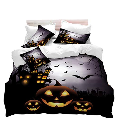 Halloween Bedding Sets Store (VITALE Duvet Cover Set, Halloween Printed Queen Size Quilt Cover Set, Cartoon Horror Jack-o'-Lantern Printed 3 Pieces Queen Size Bedding Set Kids Bedding Halloween)
