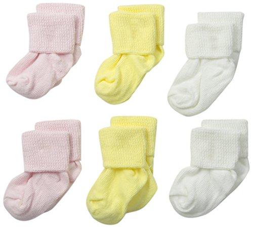 (Jefferies Socks Baby Newborn Turn Cuff Bootie 6 Pair Pack, Pink/White/Yellow)