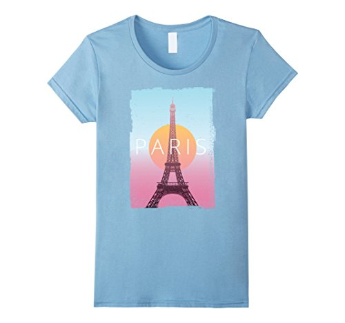 Womens Paris France Travel Poster Vintage Look T-Shirt Large Baby Blue