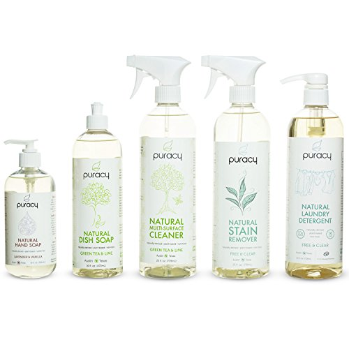 Puracy Natural Home & Kitchen Cleaning Set, Sulfate-Free Soaps, Non-Toxic Household Cleaners, Hypoallergenic Laundry Detergents, Organic Housewarming Gift [Pack of 5]