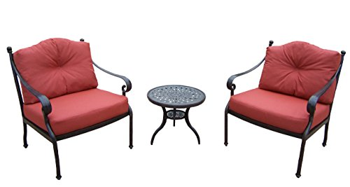 Oakland Living Berkley 3-Piece Deep Sitting Chat Set, Includes 1 Round Side Table, 2 Chairs and Cushions For Sale