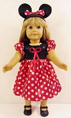 e1c8e572b14 Amazon.com  Minnie Mouse Dress Fits American Girl Doll or 18 Inch ...