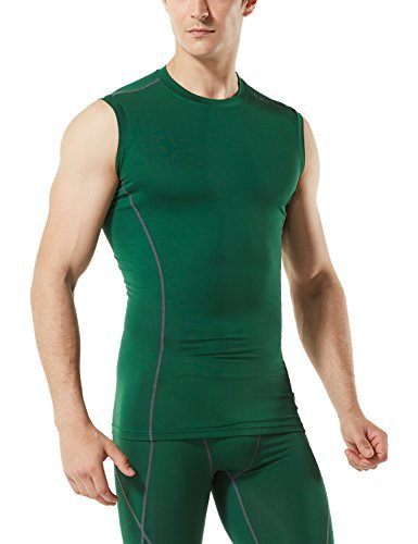TM-MUA05-GRN_2X-Large Tesla Men's R Neck Sleeveless Muscle Tank Dry Compression Baselayer MUA05
