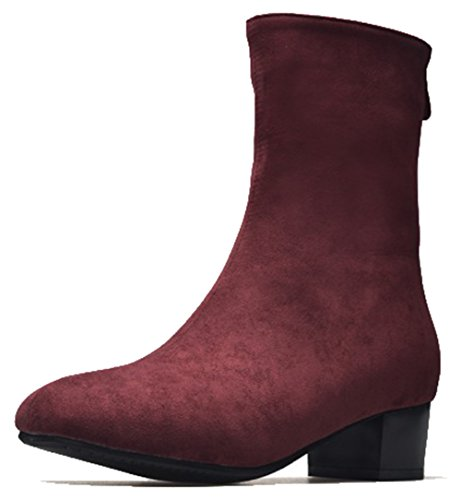 Easemax Mujeres Comfy Frosted Square Toe Mid Chunky Tacón Cremallera Botas Rojo