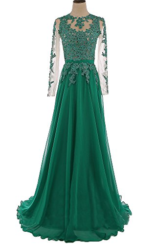 f436de3114d Home Brands MEILISAY Dresses MEILISAY Women s Applique Prom Dresses Chiffon Beaded  Evening Formal Gowns with Long Sleeves Dark Green