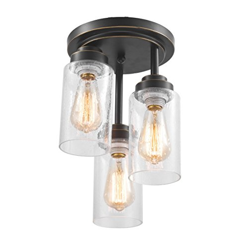Dazhuan Modern Cylinder Shape 3-Lights Flush Mount Ceiling Light Lamp with Seedy Glass Shade ()