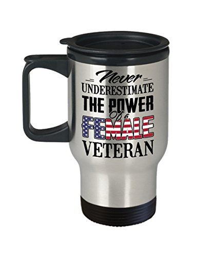 Kiwi Styles Never Underestimate The Power Of A Female Veteran Coffee Stainless Steel Travel Mug | Best Veteran's Day, Mother's Day Gift For Veteran, Grandma, Mom, Wife - 14 Oz, White
