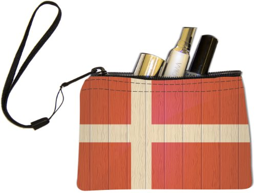 Price comparison product image Rikki Knight Denmark Flag on Distressed Wood Design Keys Coins Cards Cosmetic Mini Clutch Wristlet