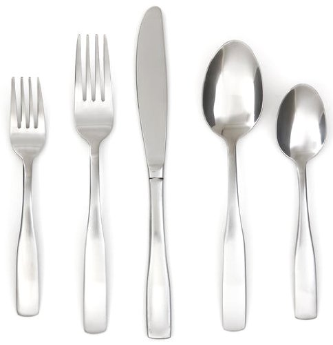 Cambridge Silversmiths Madison Satin 89-Piece Flatware Set, Service for 12 + Hostess Set