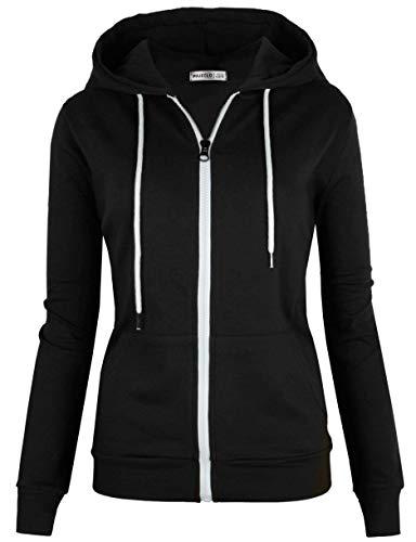 MAJECLO Women's Casual Full-Zip Hooded Lightweight Long Sleeve Sweatshirt (XLarge, Black)