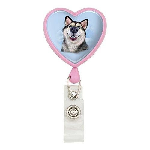 (Siberian Husky Dog Selfie Heart Lanyard Retractable Reel Badge ID Card Holder - Pink)