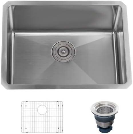 Miseno MSS2318SR 23 Undermount Single Basin Stainless Steel Kitchen Sink – Drai, 16 Gauge Stainless Steel