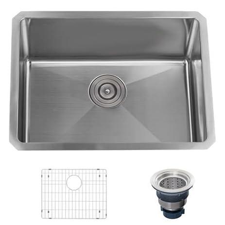 miseno mss2318sr undermount 23 u0026quot  x 18 u0026quot  stainless steel  16 gauge  kitchen sink miseno mss2318sr undermount 23   x 18   stainless steel  16 gauge      rh   amazon com
