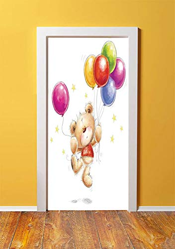 - Cartoon 3D Door Sticker Wall Decals Mural Wallpaper,Cute Teddy Bear with Colorful Balloons and Stars Cheerful Love Friends Animal Cartoon Print Decorative,DIY Art Home Decor Poster Decoration 30.3x78.
