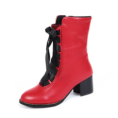 Meotina Hiver Femmes Bottes Épais Talons Mi-mollet Bottes Lacets Chaussures Femmes Rouges