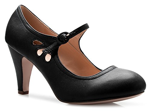 OLIVIA K Womens Kitten Heels Mary Jane Pumps - Adorable Vintage Shoes- Unique Round Toe Design With An Adjustable Strap, Black, 8.5 B(M) US