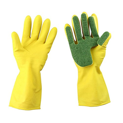 Xiaolanwelc@ 1Pair Home Garden Kitchen Dish Washing Cleaning Glove Sponge Fingers Rubber Household Cleaning Gloves for Dishwashing