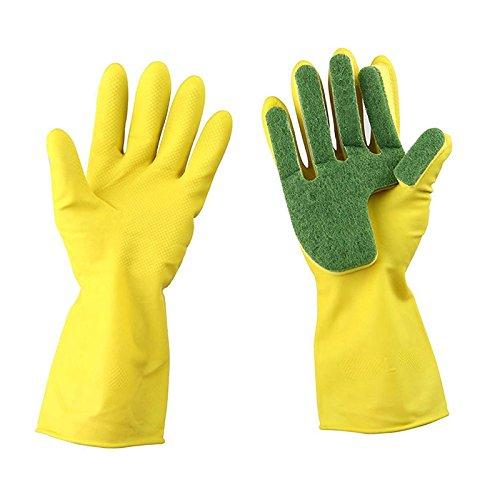 Xiaolanwelc@ 1Pair Home Garden Kitchen Dish Washing Cleaning Glove Sponge Fingers Rubber Household Cleaning Gloves for Dishwashing from Xiaolanwelc