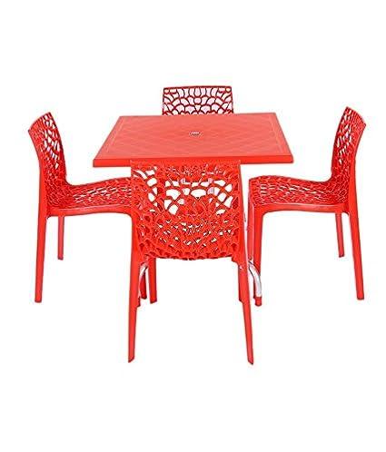 Mavi Beautiful Red Outdoor 4 Chair 1 Table Set