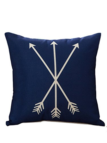 Selcet Blue Stylish Arrows Print Cotton Linen Square Throw Pillow Cases Covers for Home Decorative 18 X 18 IN (Navy Blue Pillows Decorative)