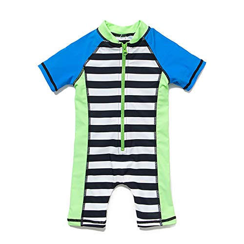 upandfast Baby Boy Short Sleeve Sunsuit with UPF 50 Sun Protection (12-18 Months, Stripe)