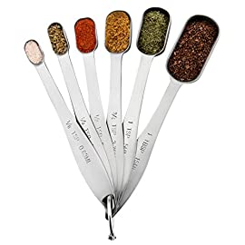 Spring Chef Heavy Duty Stainless Steel Metal Measuring Spoons for Dry or Liquid, Fits in Spice Jar, Set of 6 27 TREAT YOURSELF TO A SET WORTH HAVING - With single metal construction and heavy duty premium Stainless Steel, these measuring spoons were built with endurance in mind. No more worrying about rusting or bending. Get this set that looks beautiful, performs incredibly and will seemingly last forever. YOU DESERVE THE BEST - These spoons have engraved U.S. and metric measurement markings that are easy to read and won't fade or rub off like plastic. They nest together for compact storage and come with a convenient ring that opens and closes to let you use one spoon at a time and then keep them all together when you're done. You'll wonder how you ever lived without them. SAVE TIME AND HASSLE WITH YOUR NEW FAVORITE TOOL - The rectangular design is narrow to fit into most spice jars. You won't need to shake spices onto the spoon so you will save more and waste less of your expensive spices. Save precious time too since they are dishwasher safe.