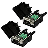 Yootop 2Pcs DB9 D-SUB Male Connector 9-pin Port Adapter to Terminal Connector Signal Module case RS232 Port Breakout Board Cover 2 Row