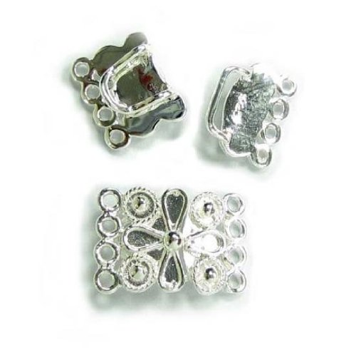 (1 set .925 Sterling Silver 4-strand Flower Hook Eye Clasp Toggle 15mm / Connector / Findings / Bright)