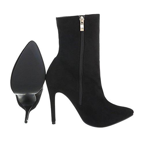 Ital-Design High Heel Stiefeletten Damenschuhe High Heel Stiefeletten Pfennig-/Stilettoabsatz High Heels Reißverschluss Stiefeletten Schwarz HP-61