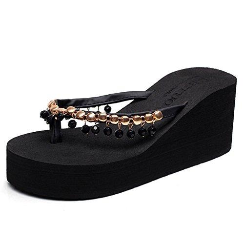 Confortable Été Sandale Femme Mode pour Marche Noir Plage Plateforme Talon Tongs de Loisir Chaussures UqTaWn77w